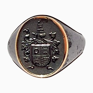 Portuguese Signet Ring with Coat of Arms in Steel and Gold