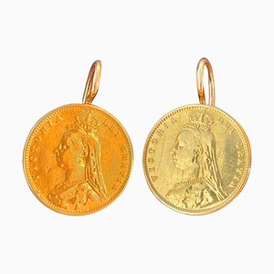 Victorian 22 Karat Gold Half-Pound Coin Earrings in Portuguese Gold Frame, Set of 2
