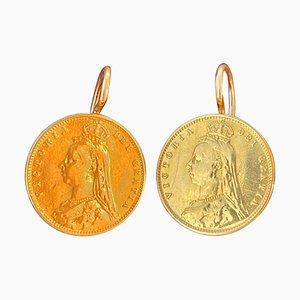 Viktorianische 22 Karat Gold Half-Pound Münzohrringe in Portugiesischem Goldrahmen, 2er Set