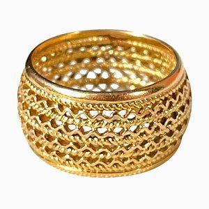 Portugiesischer Filigraner Ring aus 19,2 Karat Gold mit Großem Band