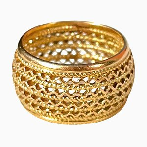 Portuguese Filigree Ring in 19.2 Karat Gold with Large Band