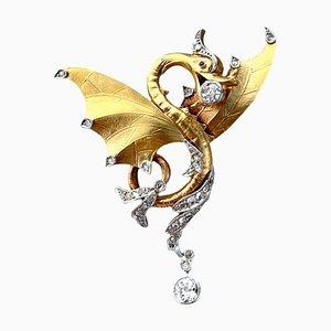 Imperial Dragon Anhänger oder Brosche aus Gold und Diamanten, 1890er