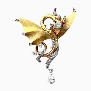 Imperial Dragon Pendant or Brooch in Gold and Diamond, 1890s