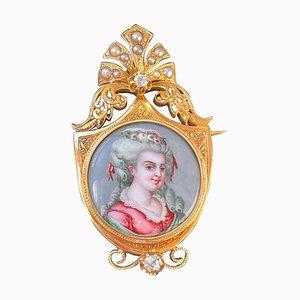 Französische Miniatur Porträtbrosche aus Gold, Spätes 1700er