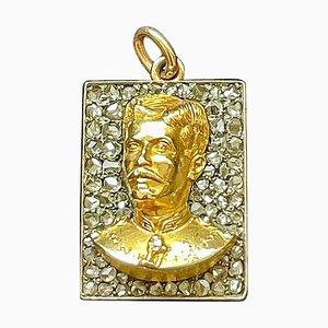 Portugiesische Büste des Militär General Anhänger aus Diamant und Gold, 19. Jh