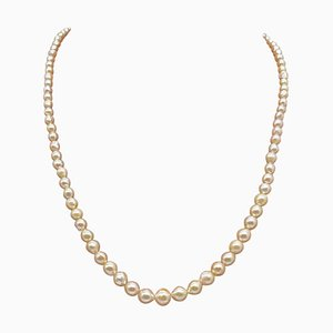 Art Deco Akoya Pearl Necklace with Silver Clasp