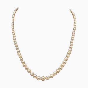 Art Deco Akoya Perlenkette mit Silberverschluss