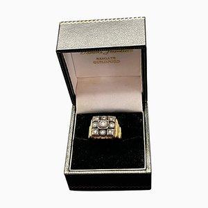 Herrenring aus Gold & Silber mit Diamanten im Rosenschliff, 19. Jh