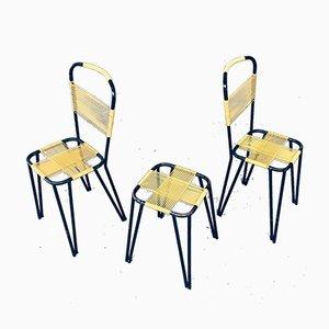 Belgian Spaghetti Chair & Stool Set, 1950s, Set of 3
