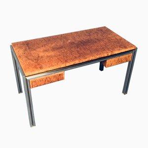 Burl Wood Desk in Style of Milo Baughman, 1970s