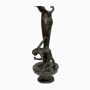 Tall Art Nouveau Vase in Pewter Depicting Young Woman Picking Water Lily by P. Jean, Early 20th Century
