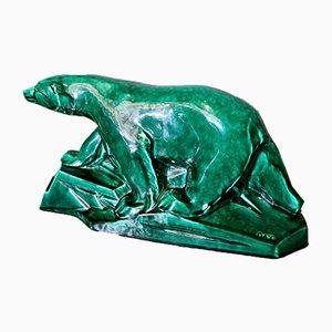 French Art Deco Ceramic Statue Polar Bear from Dax