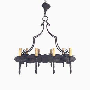 Lámpara de araña de hierro forjado de ocho brazos, años 20