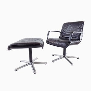 Black Leather Armchair with Ottoman by Delta Design for Wilkhahn, Set of 2