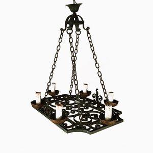 Lámpara de araña de hierro forjado de cuatro luces, década de 1900