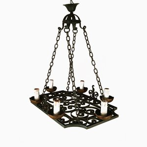 Wrought Iron Four-Lights Chandelier, 1900s