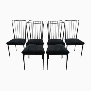 Chairs in Black Lacquered Metal by Colette Gueden, 1950s, Set of 6