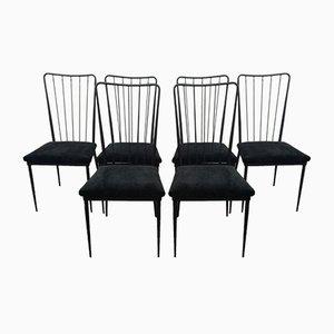 Stühle aus schwarz lackiertem Metall von Colette Gueden, 1950er, 6er Set