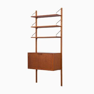 Teak Wall Unit with Secretaire and 3 Shelves by Poul Cadovius, Denmark, 1960s