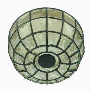 Glas Decken- oder Wandlampe mit Eisenring von Glashütte Limburg, 1960er oder 1970er