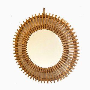 Runder Bambus Spiegel, 1970er
