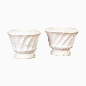 Italian Carrara Marble Urns, Set of 2