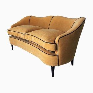 Mid-Century Italian 2-Seater Sofa in Yellow Velvet, 1950s