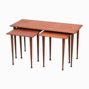 Scandinavian Teak Nesting Tables, 1960s, Set of 3