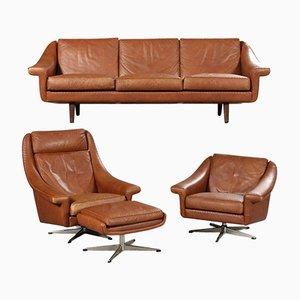 Dänische Vintage Leder Sitzgruppe von Erhardsen & Andersen, 4er Set