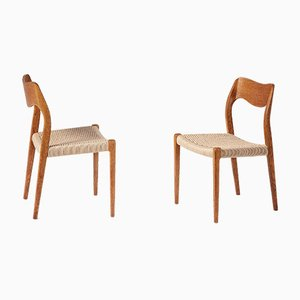 Oak Model 71 Dining Chairs by Niels Otto (N. O.) Møller, Set of 8