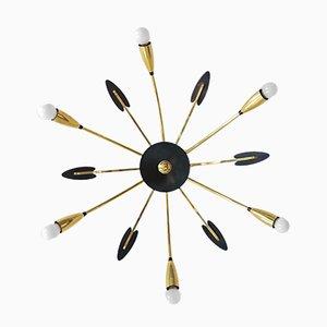 Brass 6-Armed Sputnik Chandelier, 1950s