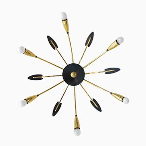 Messing 6-armiger Sputnik Kronleuchter, 1950er