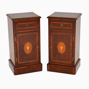 Antique Victorian Style Inlaid Bedside Cabinets, Set of 2