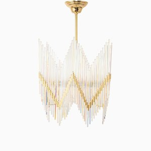 Gilt Brass and Crystal Glass Rods Chandelier from Palwa, Germany, 1970s