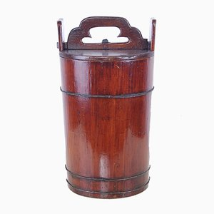 Antique Bucket with Wooden Lid