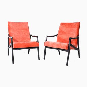 Lounge Chairs in Coral Red Velvet by Jiří Jiroutek for Interier Praha, 1960s, Set of 2