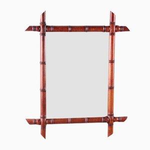 Großer Französischer Vintage Bambus Spiegel