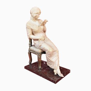 Antique Statue in Alabaster and Marble by Gambogi