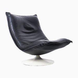 F980 Black Leather Swivel Armchair by Geoffrey Harcourt for Artifort, 1970s