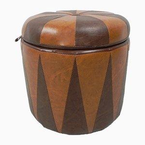 Vintage Brown Cognac Pouf