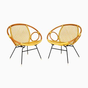 Vintage Bamboo Tub Armchairs, 1960s, Set of 2