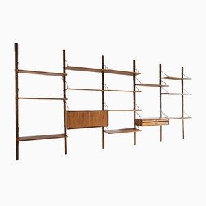 Mueble de pared Royal System danés de teca de Poul Cadovius para Cado, años 60. Juego de 15
