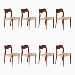 Model 71 Rosewood Dining Chairs by Niels Otto Møller, Set of 8