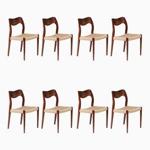 Modell 71 Esszimmerstühle aus Palisander von Niels Otto Møller, 8er Set