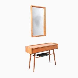 Vintage Flur- oder Konsolentisch aus Holz mit Spiegel, 1960er, 2er Set