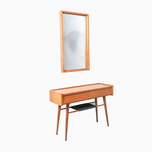 Vintage Wooden Hall or Console Table with Mirror, 1960s, Set of 2