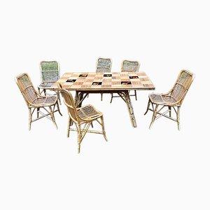 Tisch & Stühle von Adrien Audoux & Frida Minet, 1950er, 7er Set