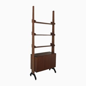 Italian Bookcase in Wood and Metal, 1960s
