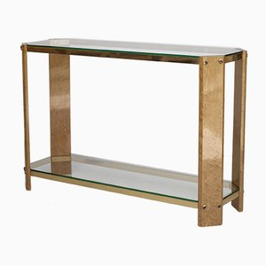 Vintage Italian Maple Wood and Brass Console Table, 1970s