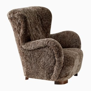 Danish Sheepskin Wing Chair, 1940s